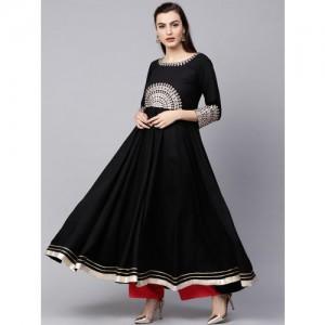Varanga Black Embroidered A Line Kurta