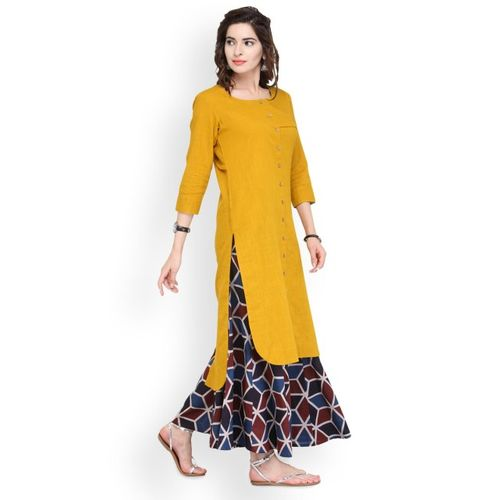 Varanga Mustard & Blue Solid Kurta with Palazzos