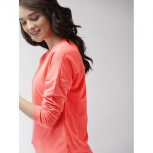 Mast & Harbour Women Coral Pink Solid Sweatshirt