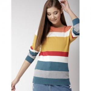 Mast & Harbour Women Multicoloured Striped Pullover
