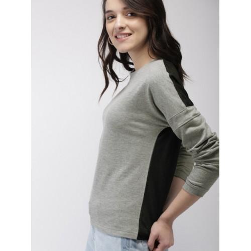 Mast & Harbour Women Grey & Black Solid Sweatshirt