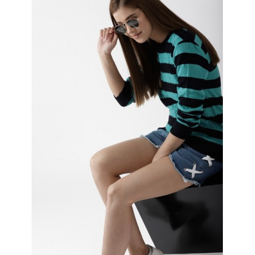 Mast & Harbour Women Blue & Black Striped Sweater