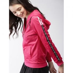 Mast & Harbour Women Pink Solid Hooded Sweatshirt