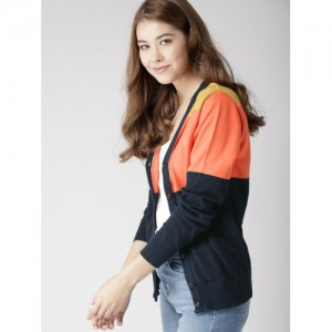 Mast & Harbour Women Navy Blue & Orange Colourblocked Cardigan