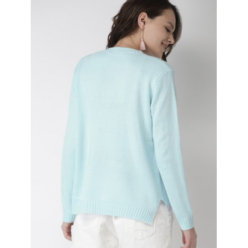 Mast & Harbour Women Blue Embroidered Pullover