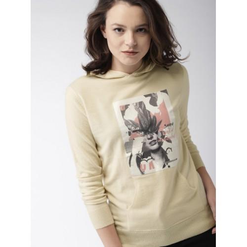 Mast & Harbour Women Beige Printed Hooded Sweatshirt
