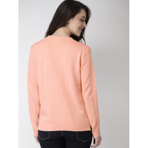 Mast & Harbour Peach-Coloured Embroidered Pullover