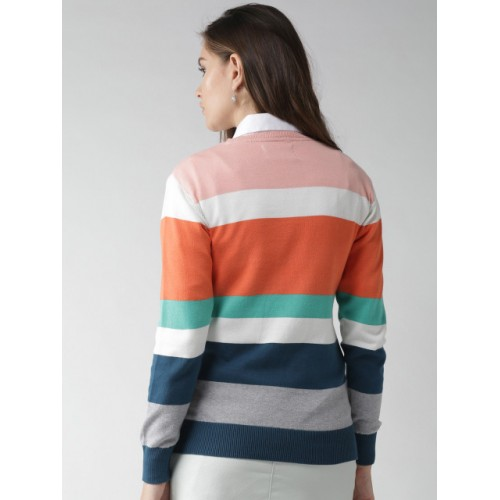 Mast & Harbour Women Multicoloured Cotton Striped Pullover
