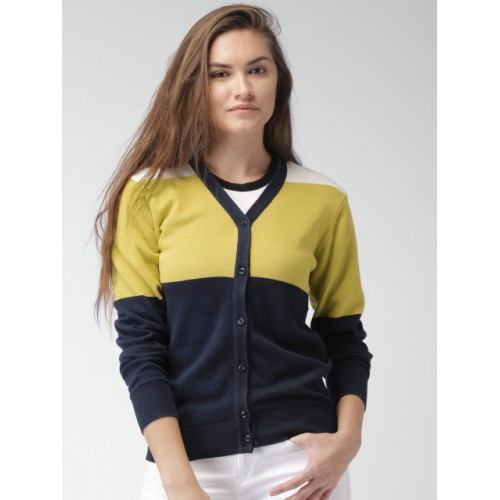 Mast & Harbour Women Navy & Mustard Yellow Colourblocked Cardigan