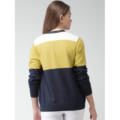 Mast & Harbour Women Navy & Mustard Yellow Colourblocked Cardigan