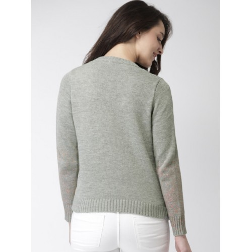 Mast & Harbour Women Grey Polyester Printed Pullover