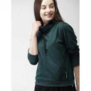 Mast & Harbour Women Teal Green Solid Sweatshirt
