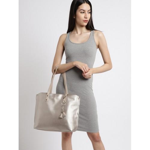 DressBerry Gold-Toned Polyurethane Solid Shoulder Bag