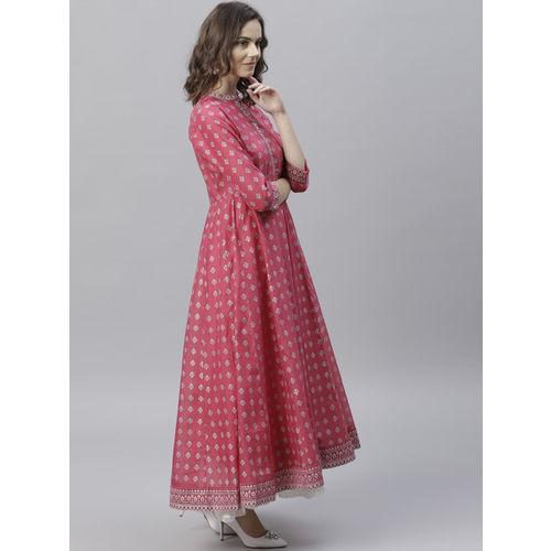 Varanga Pink Cotton Printed Anarkali Kurta