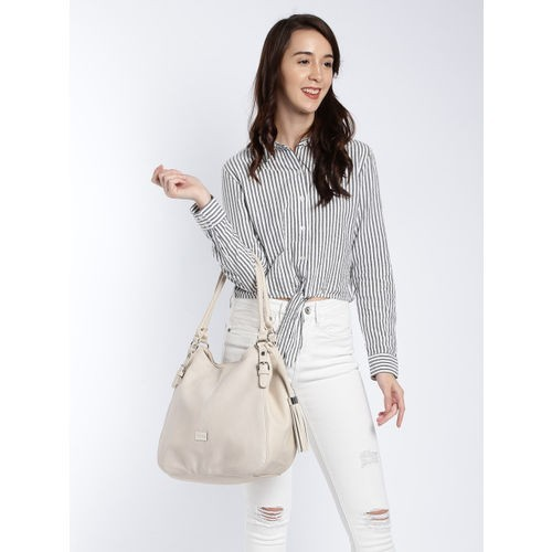 DressBerry Beige Polyurethane Solid Hobo Bag
