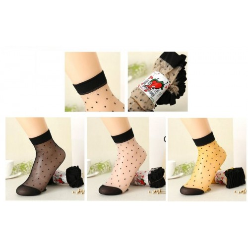 Z Decor Multicolor Net Transparant Casual Socks - Pack Of 6