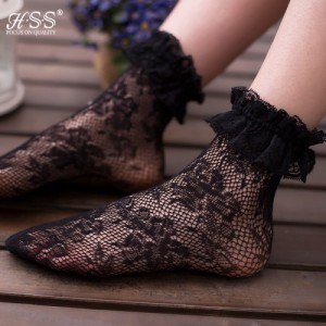 3646758dc Sexy Retro Lace Women Girl Socks Fashion Lady Soft Black Ruffle Short (Pack  of 3