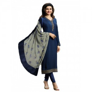 Indianboutique Blue Cotton Polyester Printed Casual Salwar Suit