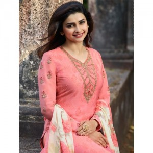 Indianboutique Pink Cotton Polyester Printed Casual Salwar Suit