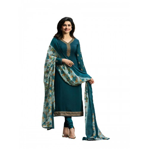 Indianboutique Green Cotton Polyester Printed Casual Salwar Suit