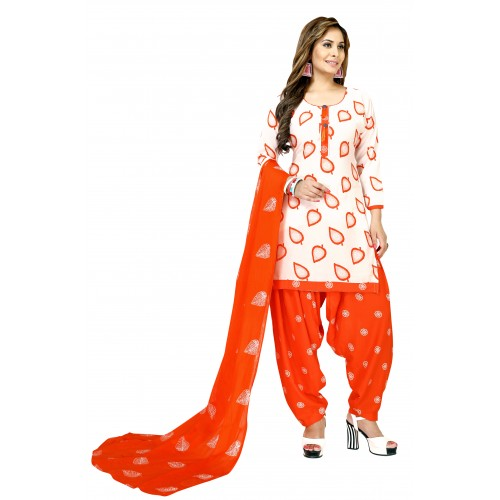 White & Orange Cotton Polyester Casual Printed Salwar Suit