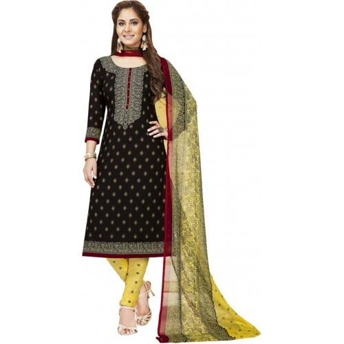 Black Cotton Polyester Casual Printed Salwar Suit