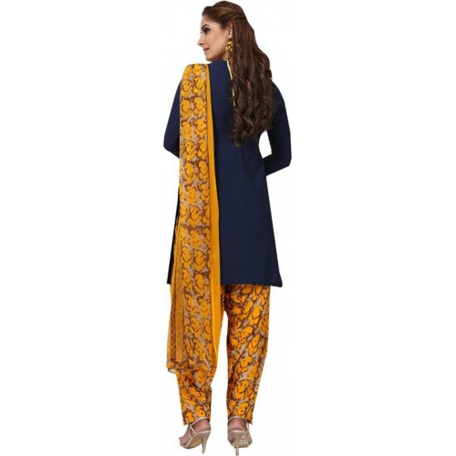 Blue & Yellow Cotton Polyester Printed Casual Salwar Suit