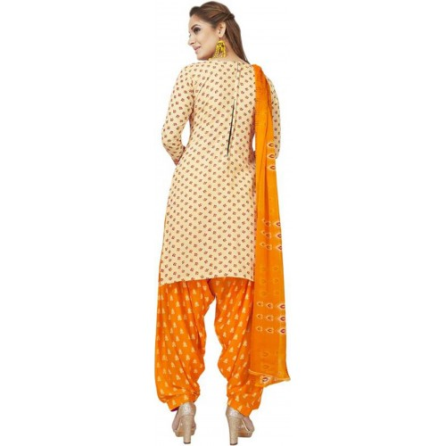 Orange & White Cotton Polyester Printed Salwar Suit