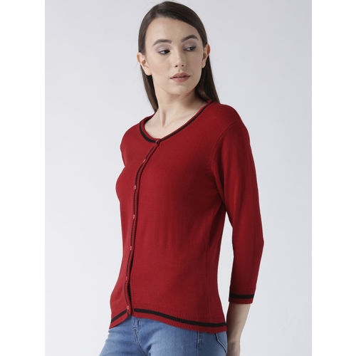 Club York Women Maroon Solid Cardigan