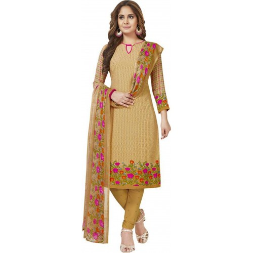 Brown Cotton Polyester Printed Casual Salwar Suit