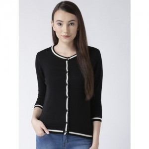 Club York Women Black Solid Cardigan