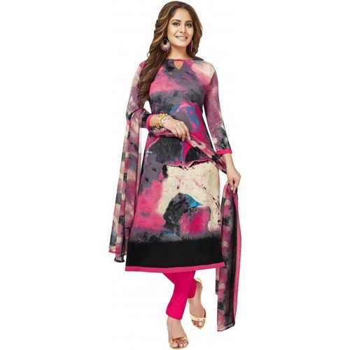 Multi Color Cotton Polyester Printed Casual Salwar Suit