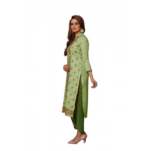 Green Cotton Polyester Printed Casual Salwar Suit