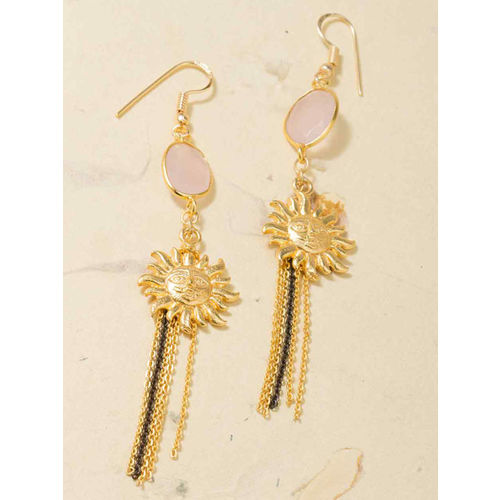 6b22d48bffd6d Buy Voylla Dual Tone & Pastle Gold-Plated Drop Earrings online ...
