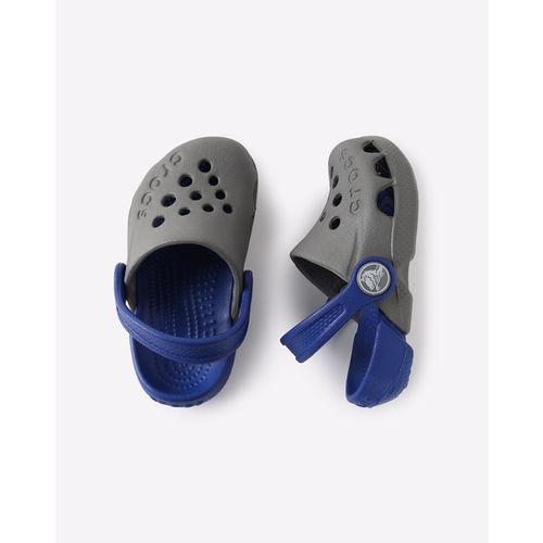 Crocs Kids Electro Smoke Grey & Blue Back Strap Clogs