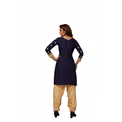Blue & Cream Cotton Polyester Casual Salwar Suit