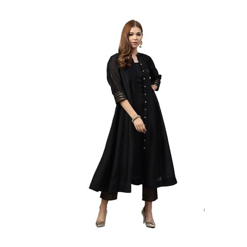 Juniper Black Regular Fit Kurta With Jacket