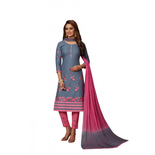 Pink & Gray Cotton Polyester Casual Salwar Suit