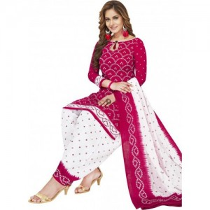 White & Pink Cotton Polyester Casual Salwar Suit