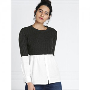 all about you from Deepika Padukone Charcoal Grey & White Colourblocked Sweater