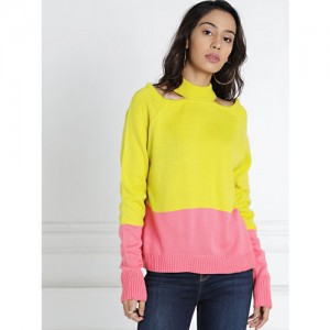 all about you from Deepika Padukone Women Yellow & Pink Colourblocked Pullover