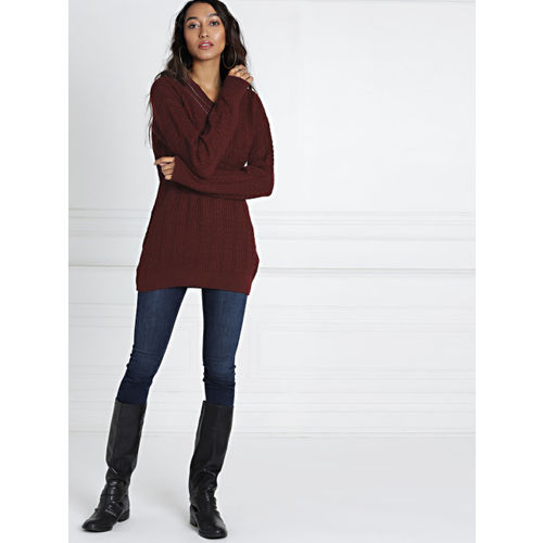 all about you from Deepika Padukone Women Maroon Solid Pullover