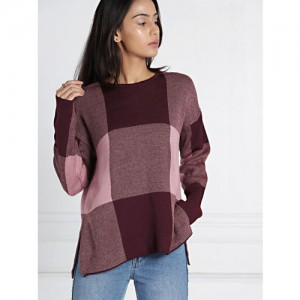 all about you from Deepika Padukone Women Burgundy & Pink Checked Pullover