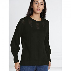 all about you from Deepika Padukone Women Black Self Design Pullover