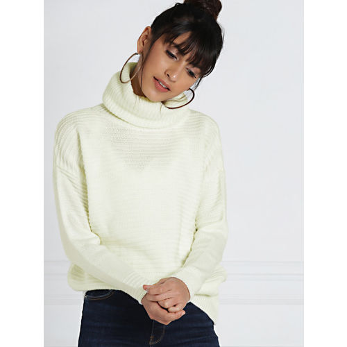 all about you from Deepika Padukone Women Off-White Self-design High Neck Pullover