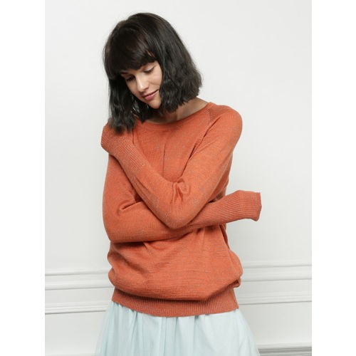 all about you from Deepika Padukone Women Rust Orange Self Design Pullover