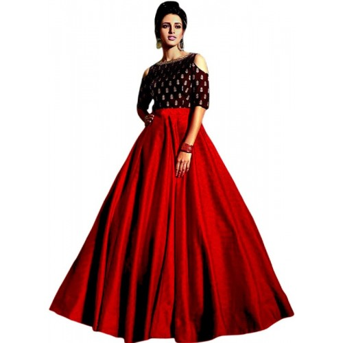 Shree Impex Red & Black Applique Semi Stitched Ghagra Choli