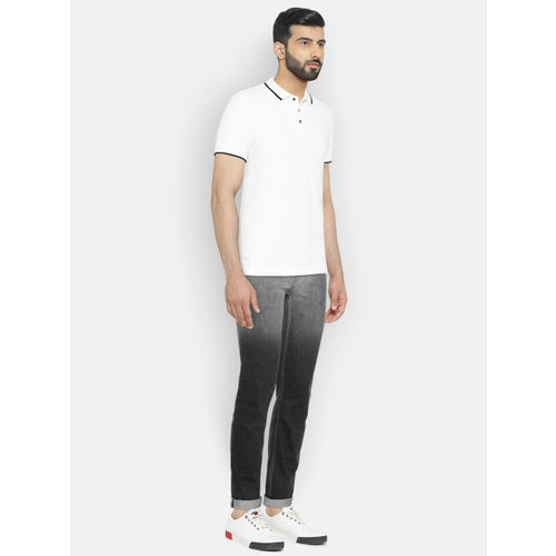 Lee Men Black & Grey Bruce Skinny Fit Ombre-Dyed Mid-Rise Clean Look Jeans