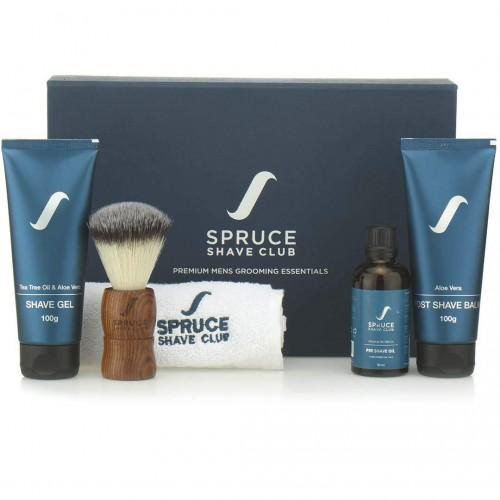 Spruce Shave Club Essentials Kit (Shave Gel, Post Shave Balm, Shaving Brush) - Herbal, SLS & Paraben Free