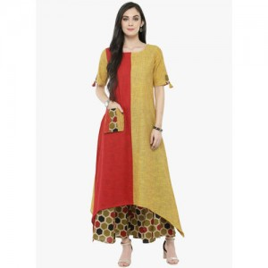 Varanga Red Printed Trail Cut Kurta